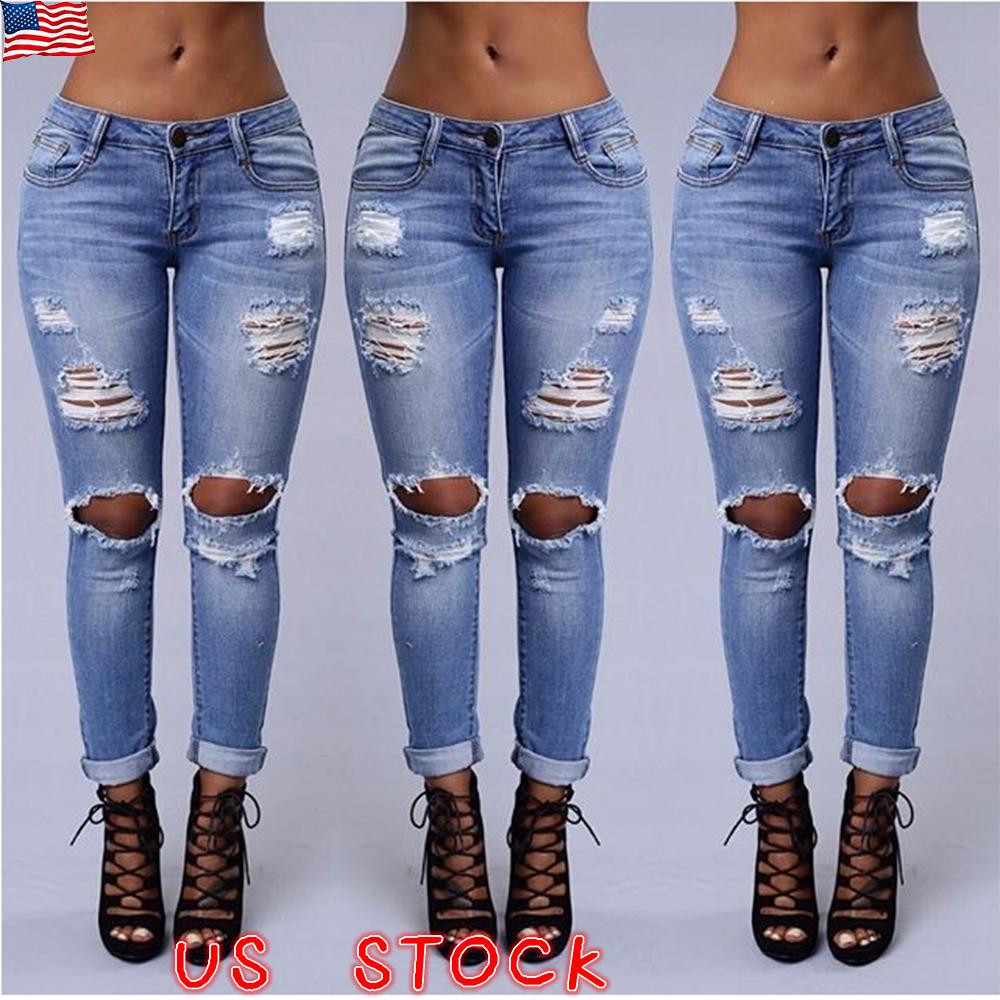 Womens Skinny Slim Fit Distressed Ripped Crushed Denim Jeans