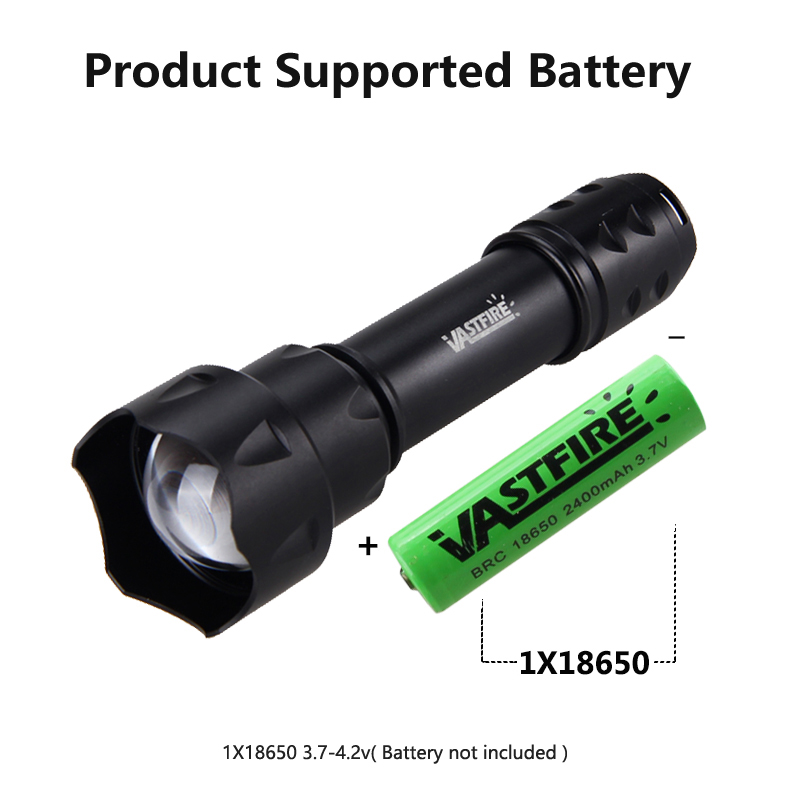 XPE LED Coyote Vamint Hunting Green Light Flashlight Zoomable Torch Convex Lens