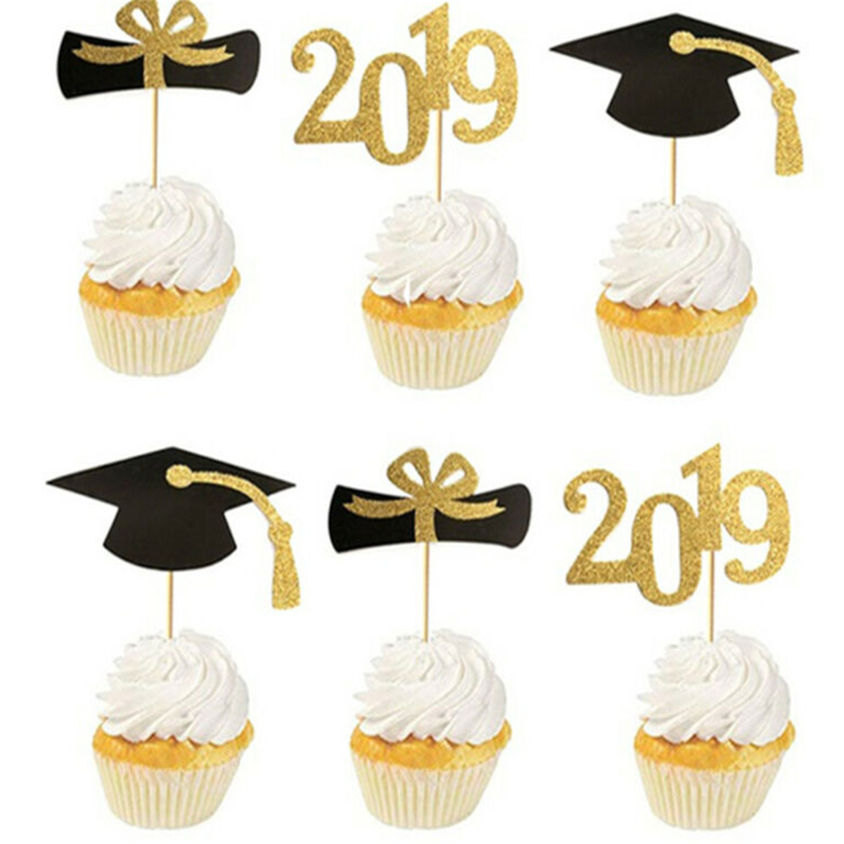 Class of 2019 Edible Cupcake Toppers Standup Fairy Cake Decorations Graduation