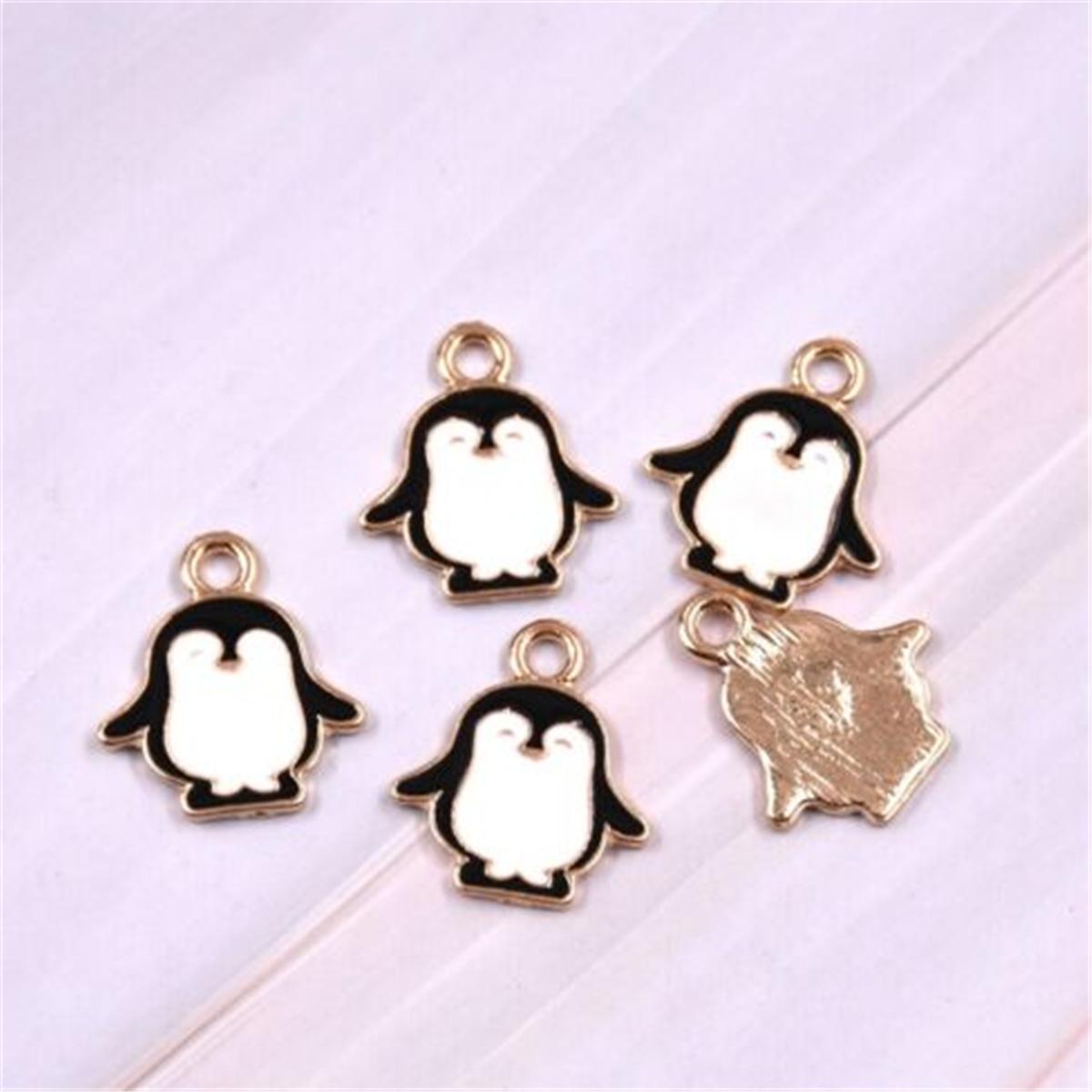 10pcs Cute Enamel Cartoon Penguin Charms Pendant Animals DIY Necklace Bracelet