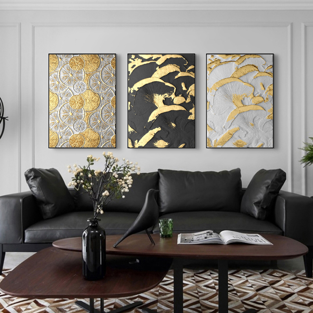 Luxury Gold Black Relief Canvas Home Living Room Decor Art Wall Hangings Poster Ebay