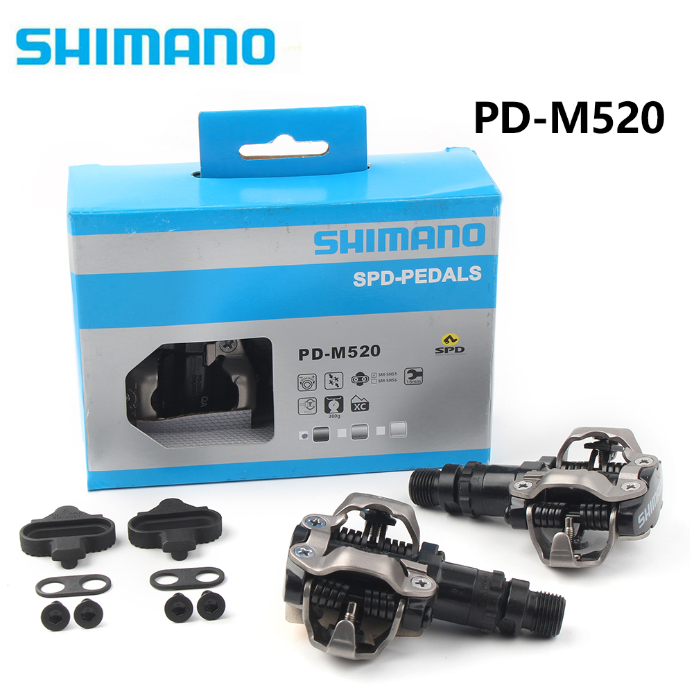 Black SHIMANO PD-M520 Bike Cycling Pedals Clipless w// SPD cleats HPY