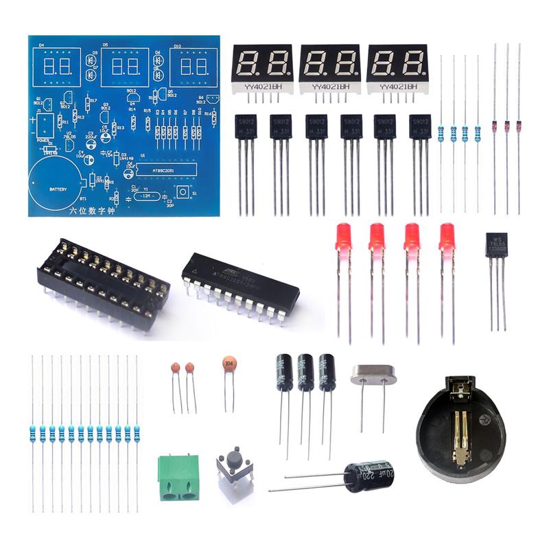 À faire soi-même Kit Module 9V-12V AT89C2051 6 DEL numérique électronique horloge Pièces Composants