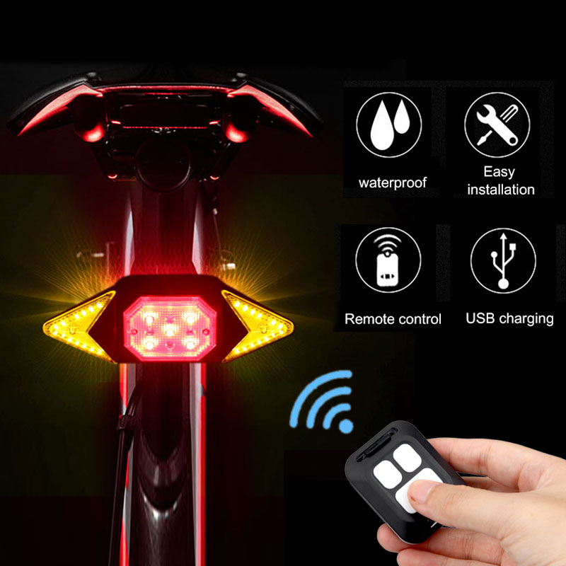 Intelligent Bike Turn Signal Indicator Light Wireless Remote Control Rear Lamp