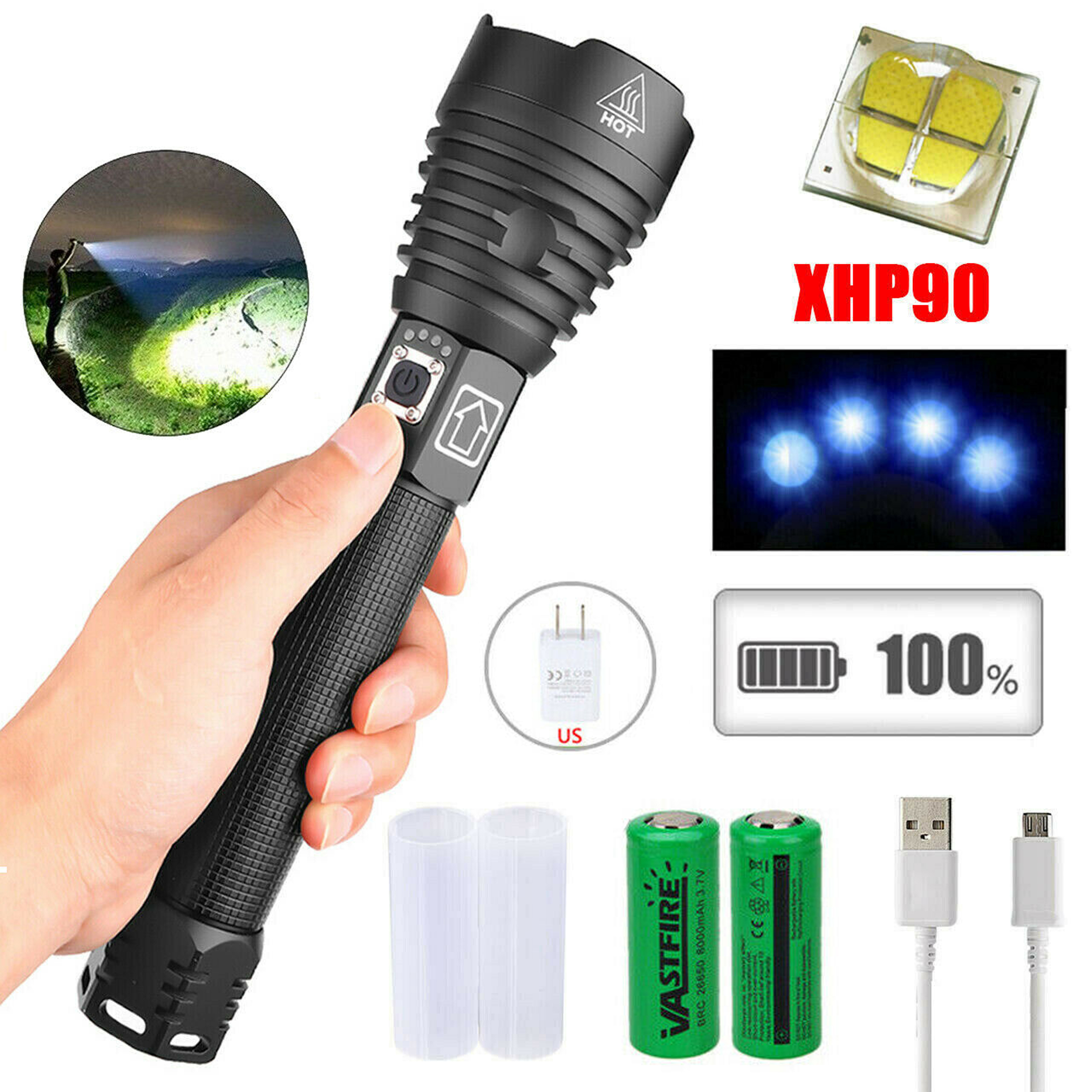 Zoomable Usb Rechargeable Ultra Bright Waterproof Led Torch Flashlight Lamp#K