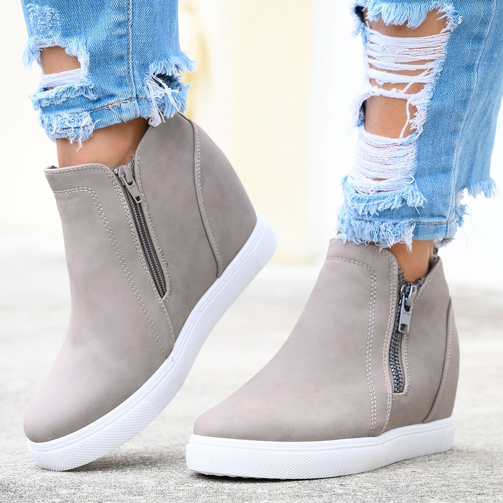 Women Hidden Wedge Heel Sneakers Trainers Casual Slip On Sandals Size 3-6.5 HC