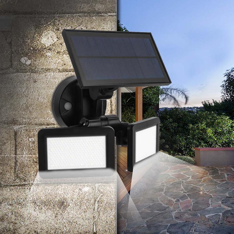 Waterproof Dual Head 48LED Solar Wall Light Radar Sensor Outdoor Garden Lamp
