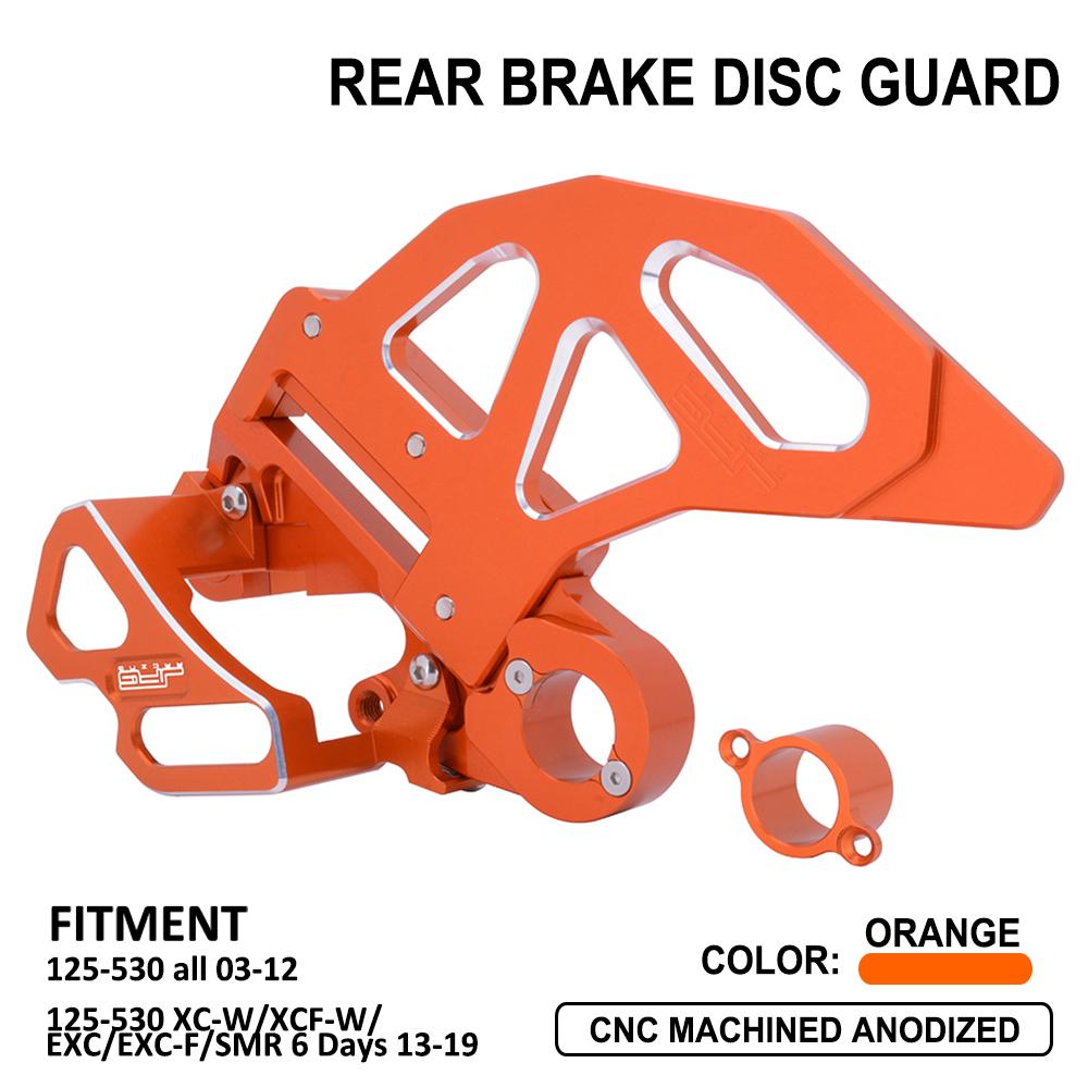 JFG RACING Orange CNC Aluminum Rear Disc Brake Guard For SX EXC XC XCW SXF XCF XCF-W EXC-F EXCR 125-540 TE125 TE250 TE300 Husqvarna Motorcycle Dirt Pit Bike