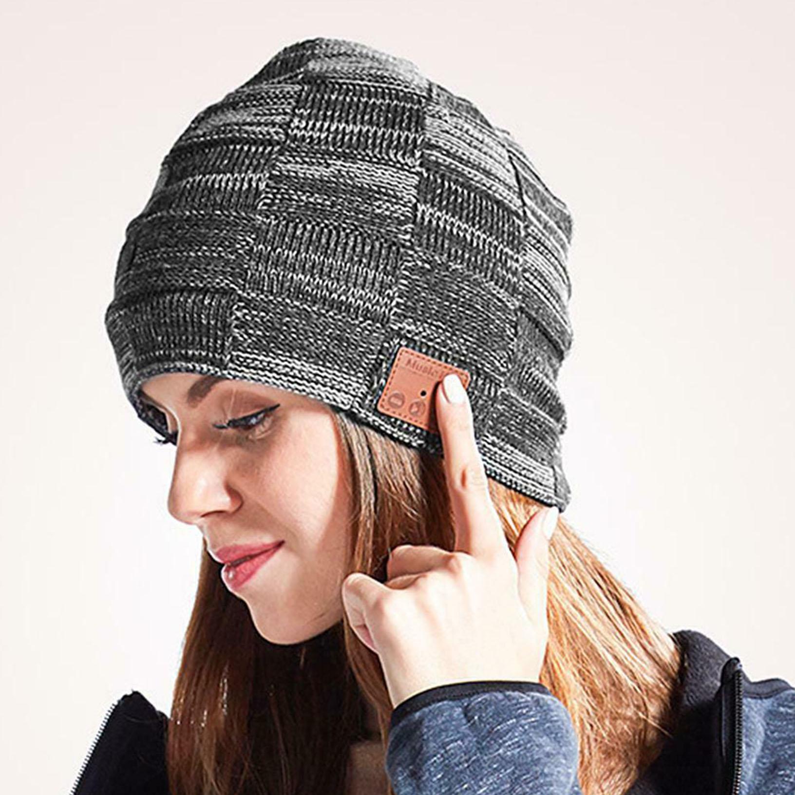 Bluetooth Music Warm Beanie Hat Wireless Cap Headset Headphone Speaker Mic US
