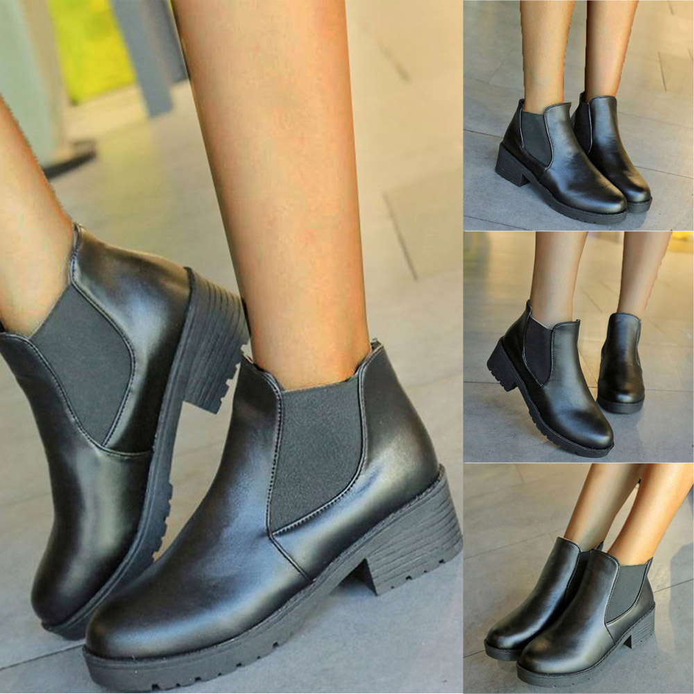 Ladies Ankle Boots Mid High Block Heeled faux Suede Bow Casual Shoes UK Size 3-6