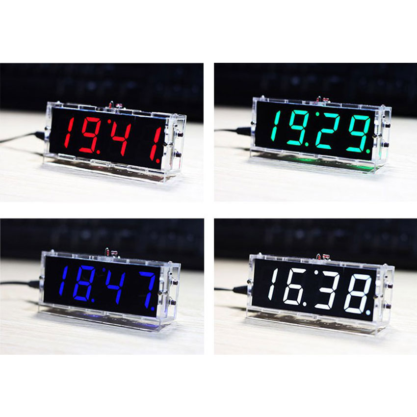 Elektronik Uhr LED DIY 4 stellige Temperatur Zeit Digitaluhr Kit