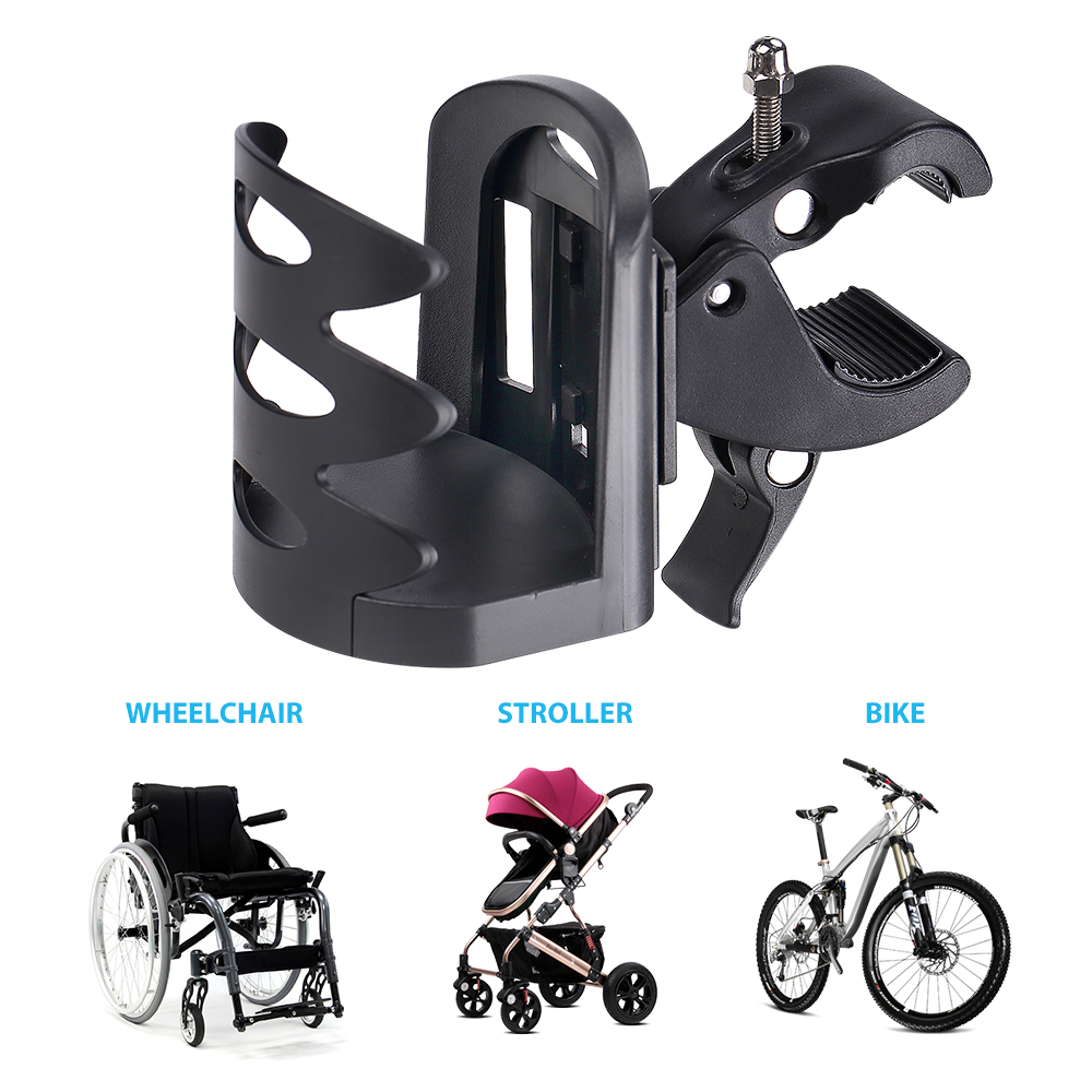 360 Degrees Rotation Antislip Cup Drink Holder for Mountain Bikes Bicycle Bottle Holder Tools Free Prams and Wheelchair Bike Cup Holder