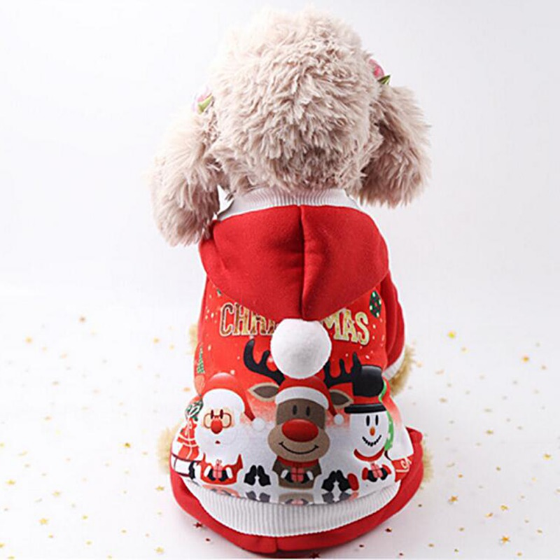Pet Cat Santa Costume Dog Christmas Small Coat Outfit Clothes Hoodie Jumper Xmas 1