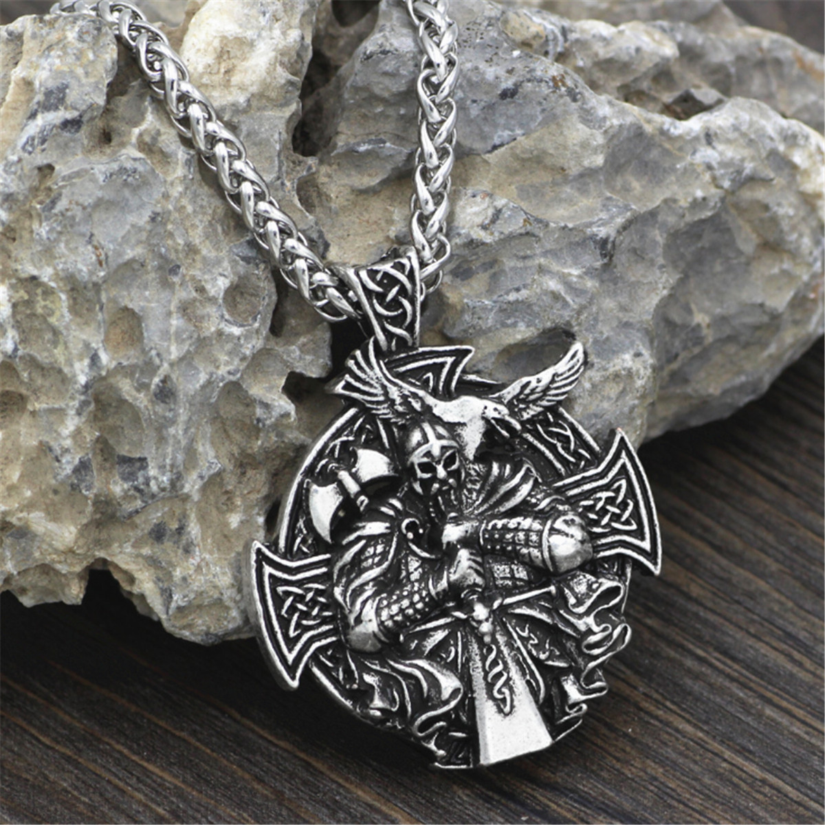 Edelstahl Wikinger Kette Odin Rune Raven Viking Schmuck Raben Anhänger Halskette