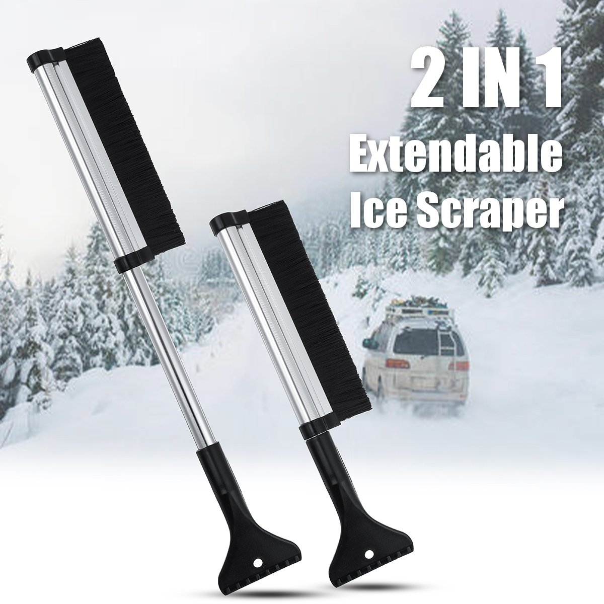 1Piece, Black + Red Ice Scraper for Car Windscreen Durable Tools to Remove Ice Snow Frost Easily
