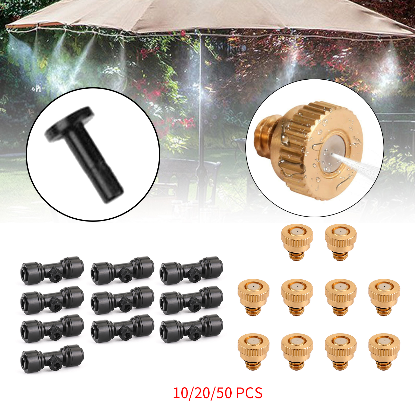5-50Pcs//set Brass Misting Nozzles Water Mister Sprinkle Tool For Cooling System