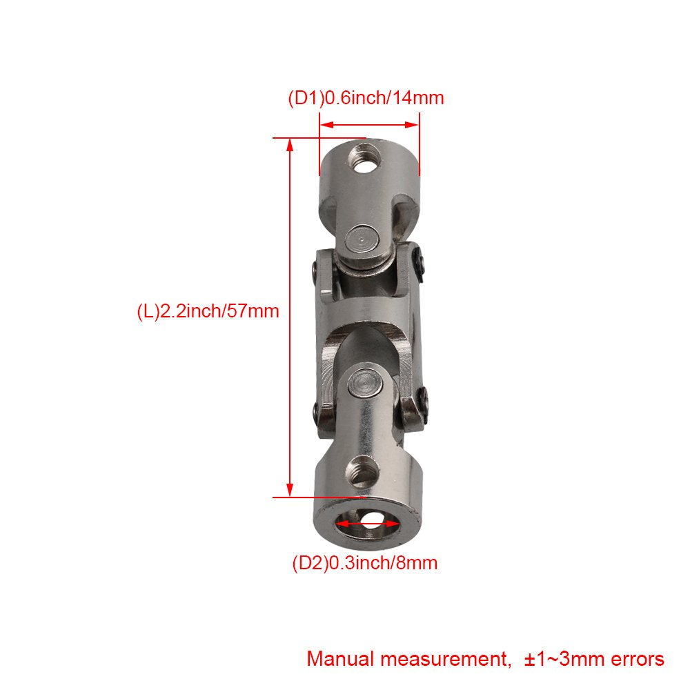2x 4*4//5*5//6*6mm Boat Shaft Coupler Connector Double Universal Joint Coupling