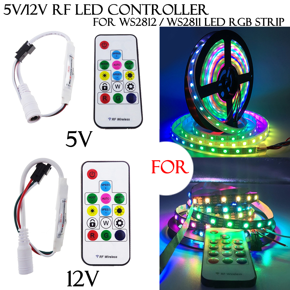 Details about 5V 12V 14Keys RF Controller LED Strip For WS2812 WS2811 RGB  Mini Wireless Lights