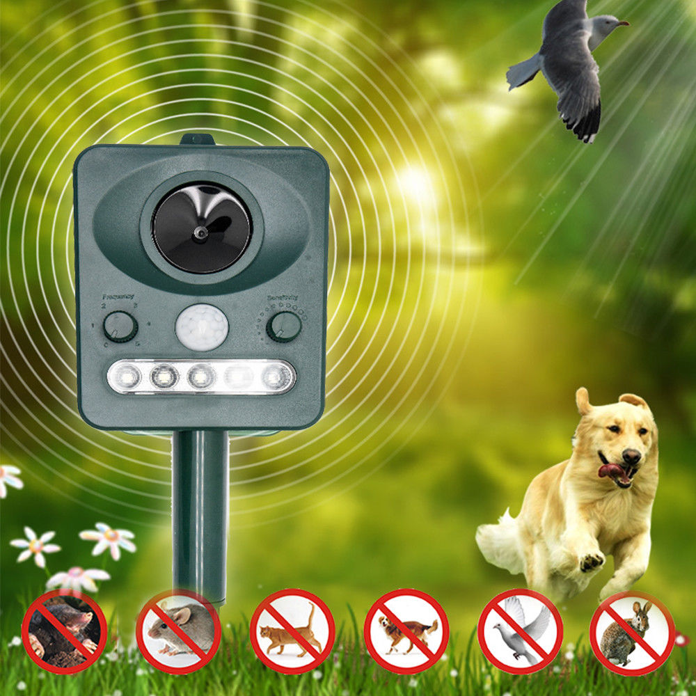 Solar Powered Cat Repellent Scarer Deterrent Ultrasonic Dog Fox Cat Pest Animal