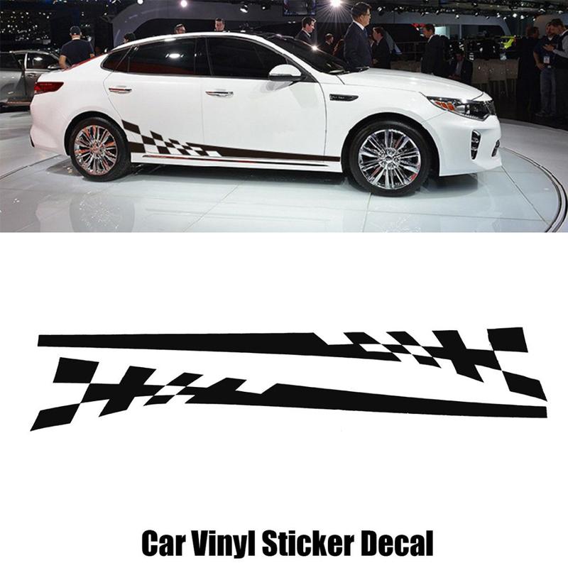 2pcs Car Body Side Skirt White Decoration Paper Sticker Stripe Vinyl Decal