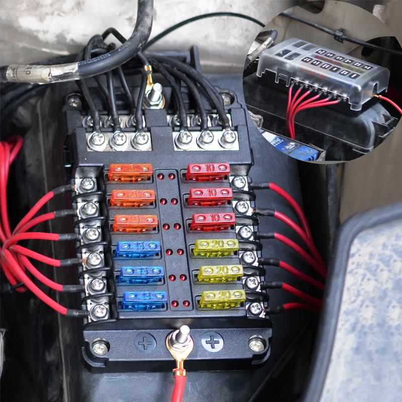 12 Way Terminals Circuit Car Boat Bus ATC ATO Blade Fuse Box Block Holder  12-24V | eBayeBay