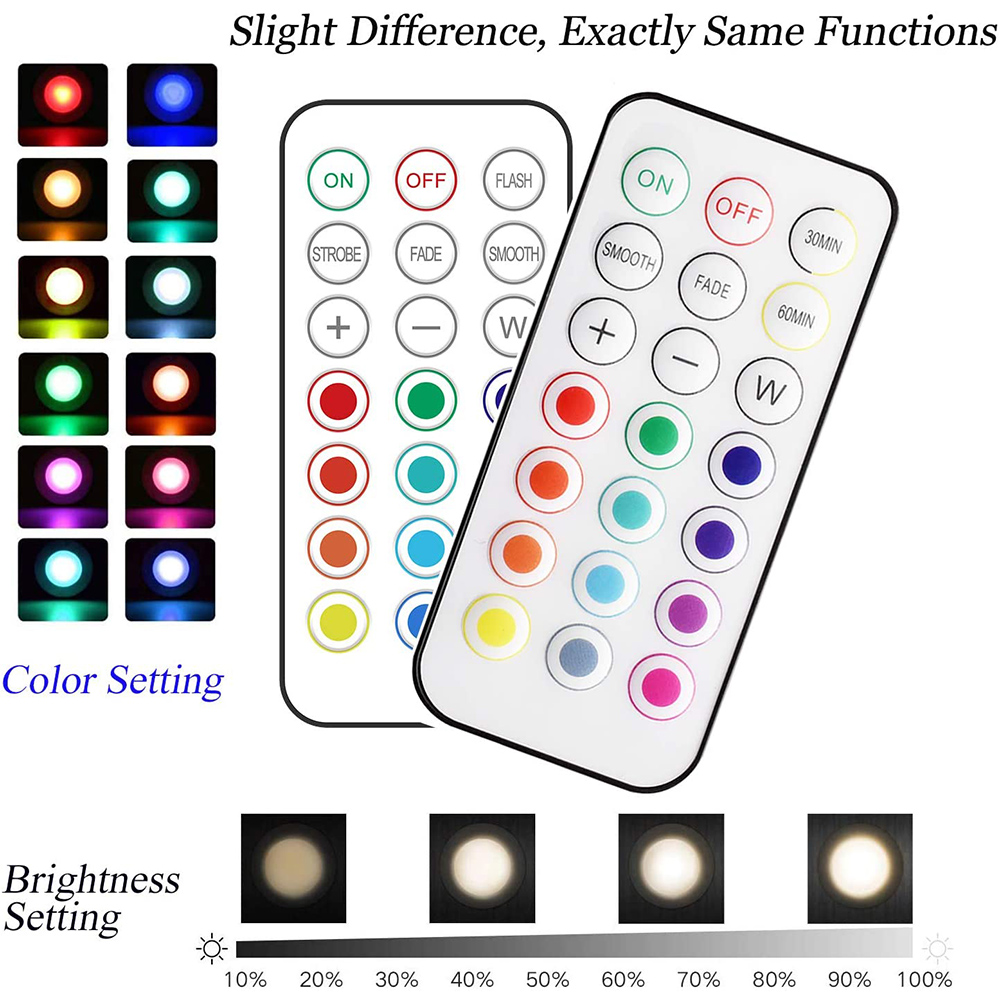 1-12Pack Wireless Color Changing LED Puck Light LED Under ...
