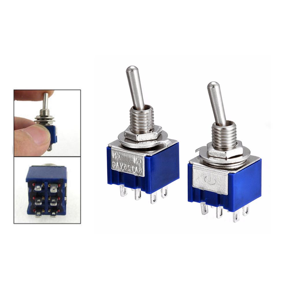 2 Stueck Blau Mini DPDT ON// ON Kippschalter mit 6 Klemmen/_x000D/_ DKVW L GP 10X