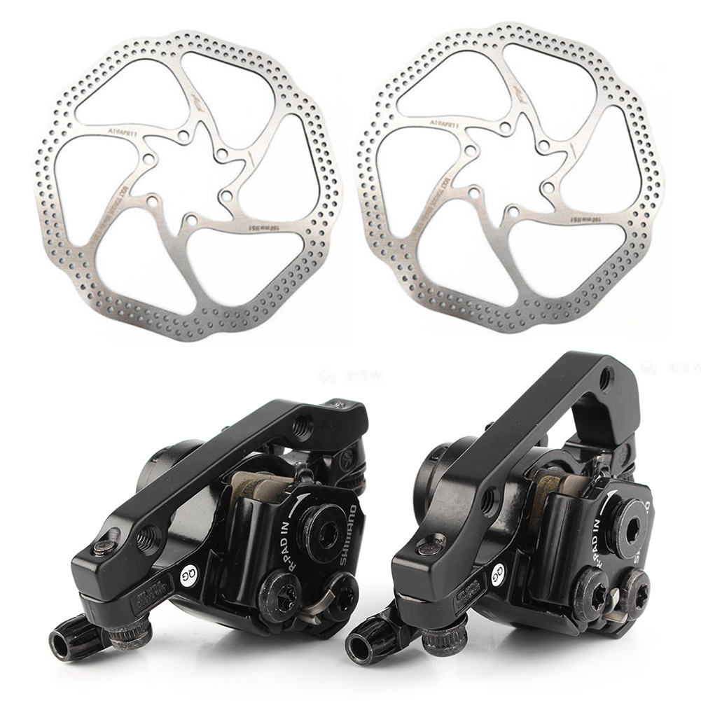 For bikeBR-M375 Mechanical Disc Bicycle Brake Caliper Set Front+Rear Black