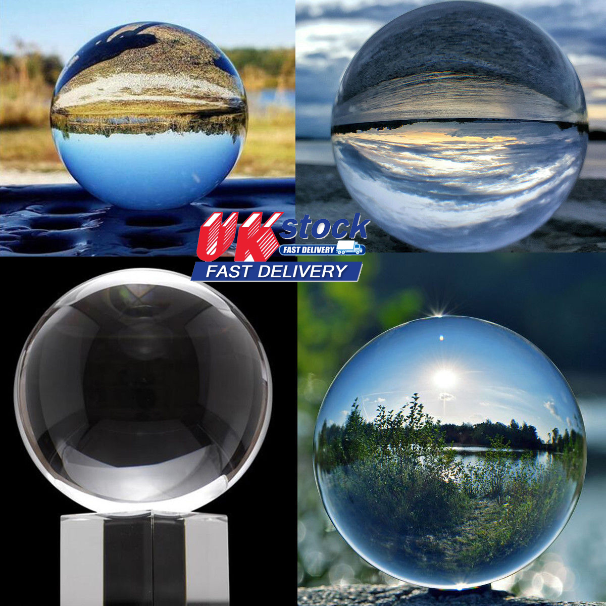 Photography Crystal Ball Clear Glass Sphere Transparent Lensball Photo Prop Lens