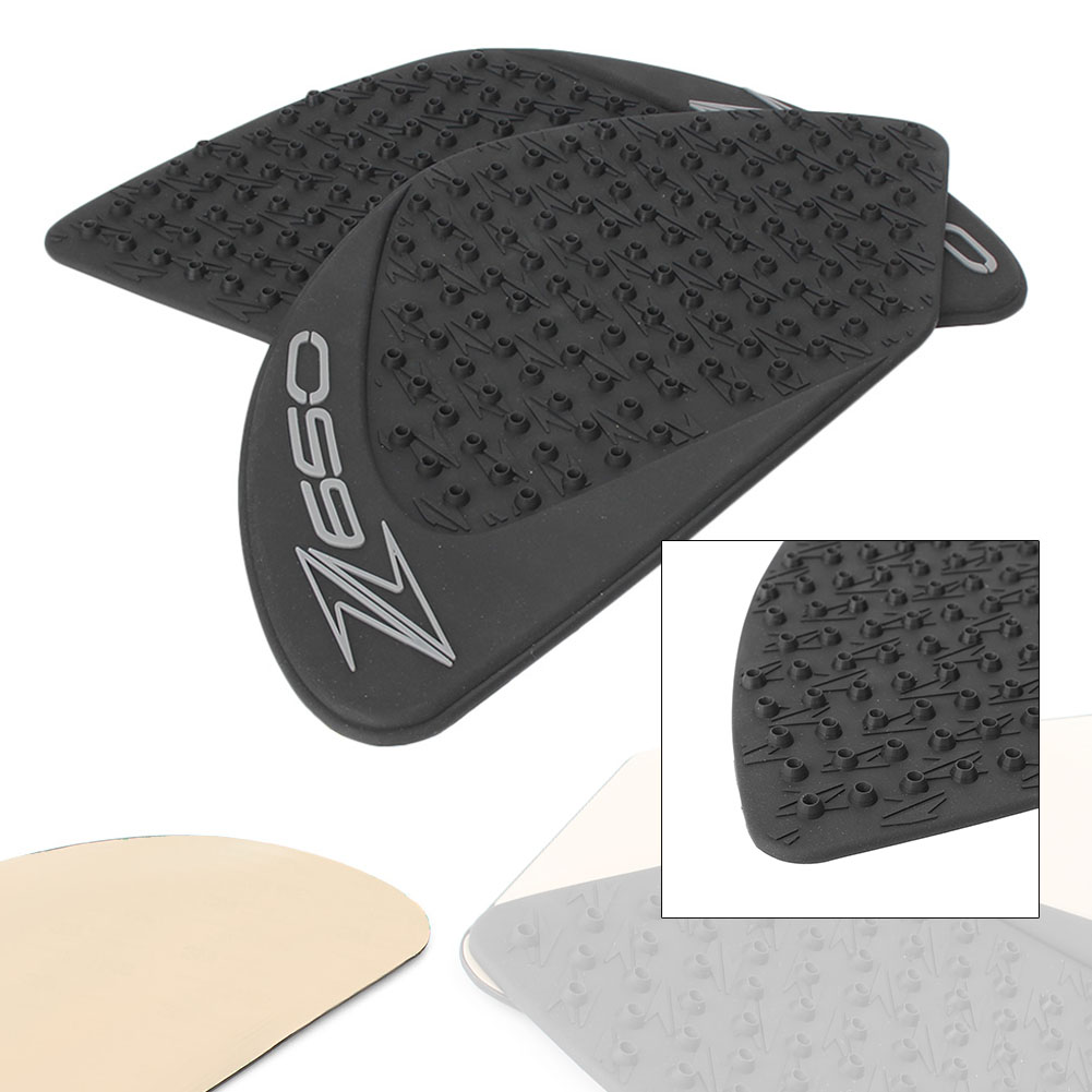 RockMute for Kawasaki Z650 All Year 2010 2011 2012 2013 2014 2015 2016 3D Motorcycle Tank Traction Pad Anti Slip 3M Adhesive Sticker Side Decal Gas Knee Grip Protector