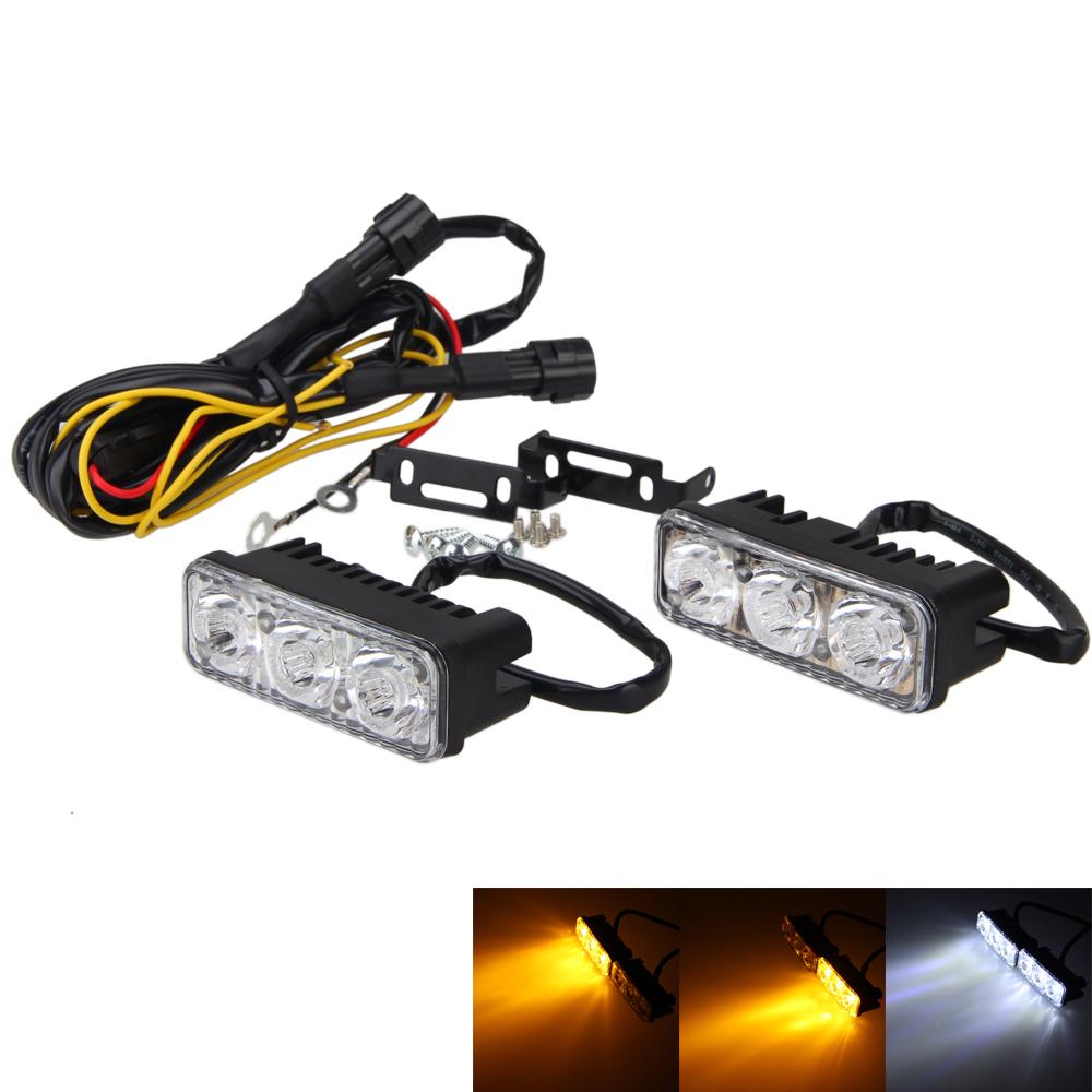 2x 6 LED High Power Car White DRL /& Amber Turn Signal Daytime Running Light 12V