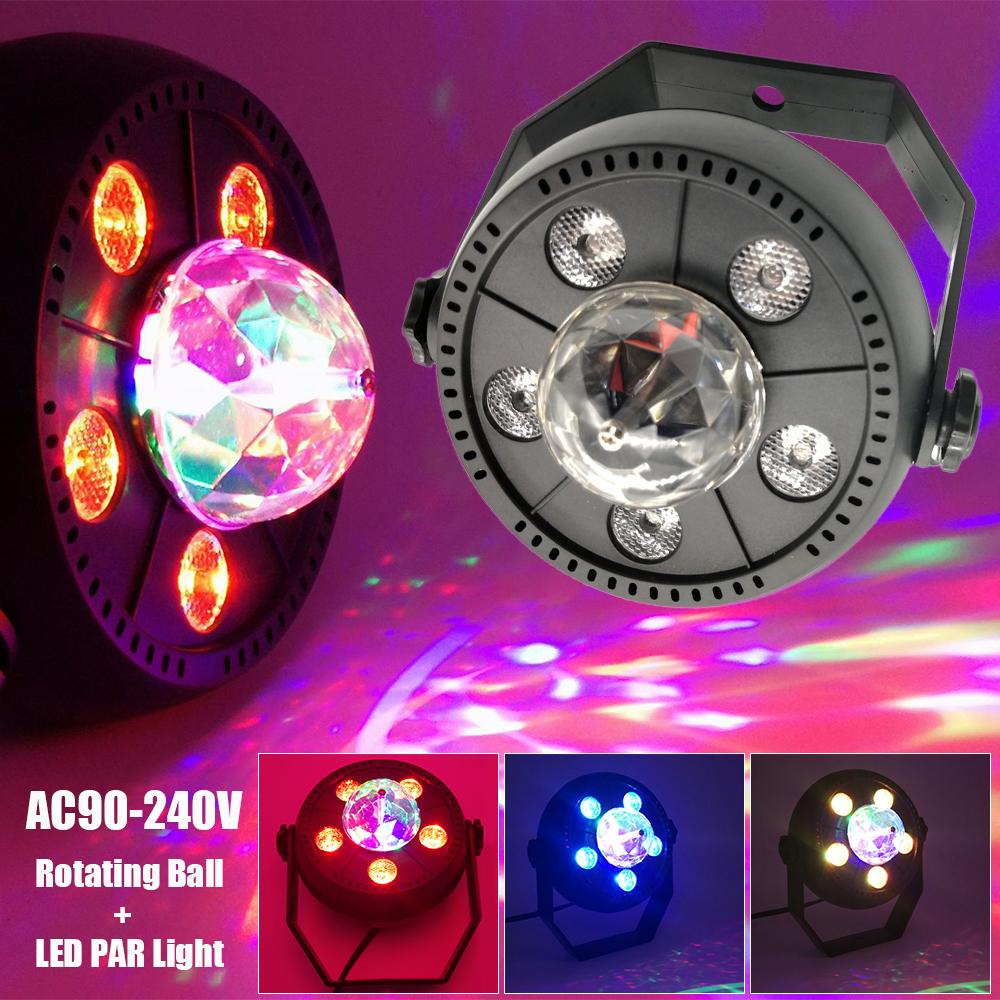 Details About Ac90v 240v Led Stage Lighting Lamps Rgb Rotating Ball With 5pcs Par Lights