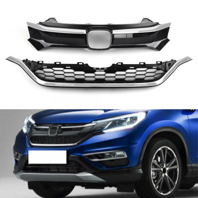 Car Front Bumper Cover Grid Upper Trim + Lower Grille For 2015-2016 Honda CRV Generic