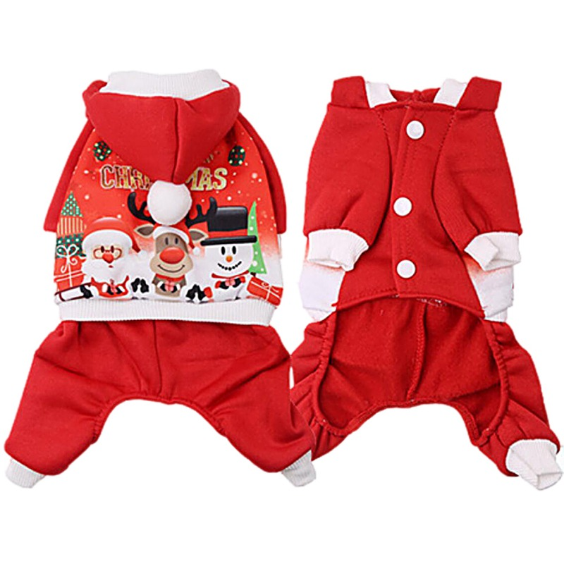 Pet Cat Santa Costume Dog Christmas Small Coat Outfit Clothes Hoodie Jumper Xmas 3