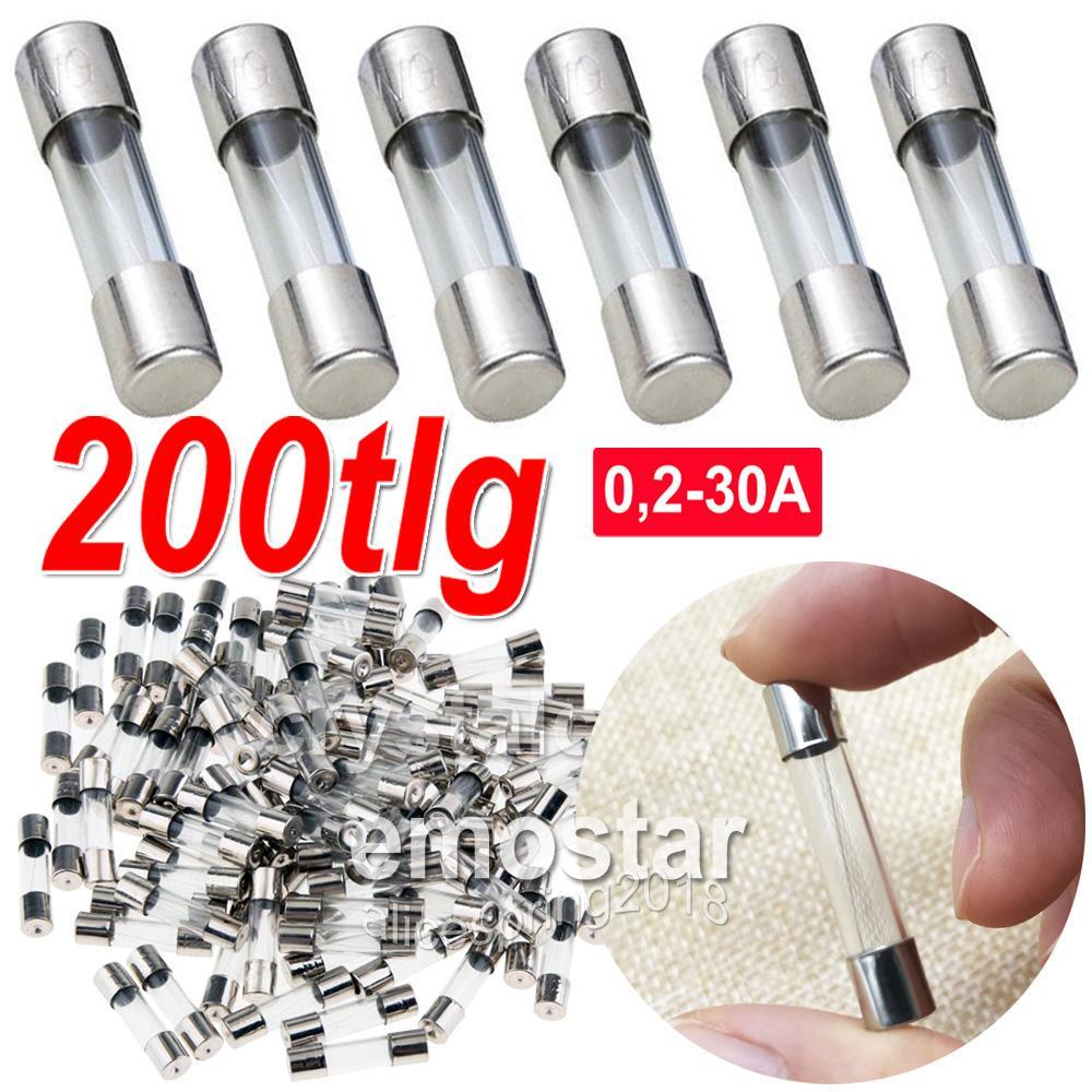200tlg Glassicherungen Feinsicherungen Sortiment Sicherungen 0,2-30A 250V 6*30mm