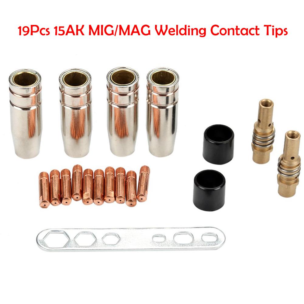 10Pcs MB-15AK MIG//MAG M6 Welding Torch Gun Tips Holder Gas Nozzle Gold  New UK