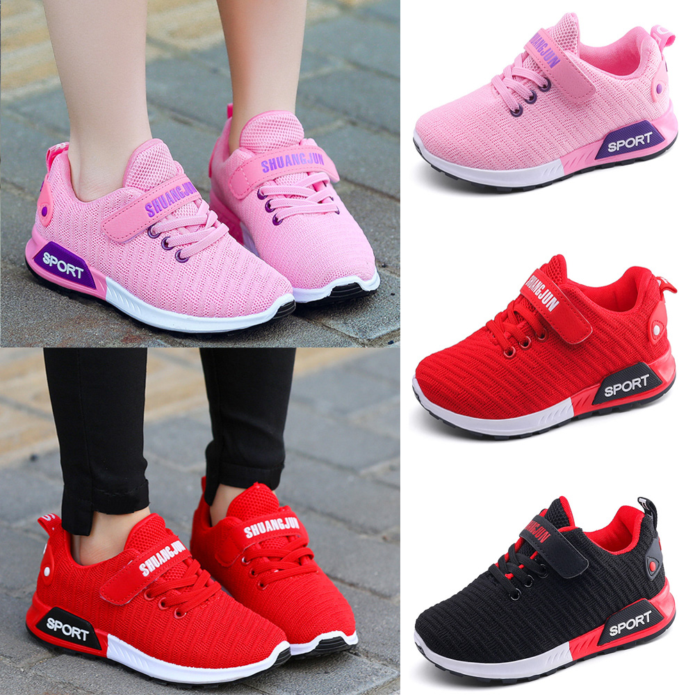 Kids Boys Girls Mesh Breathable Shoes Running Trainers Sports Casual Sneakers SP