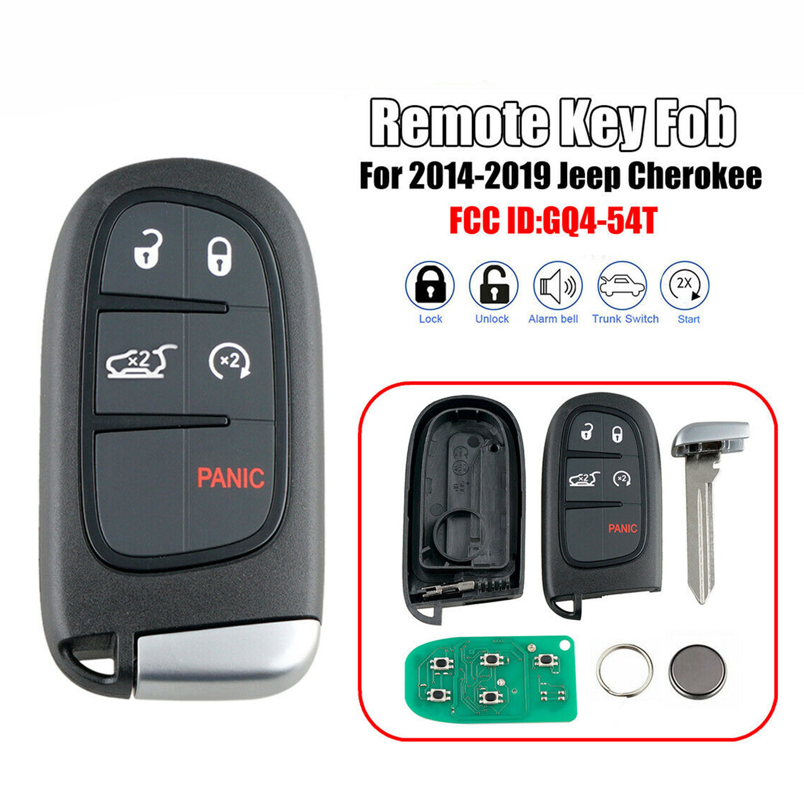 Replacement for 2014-2019 Jeep Cherokee Remote Fobik Key GQ4-54T 433MHz 4A