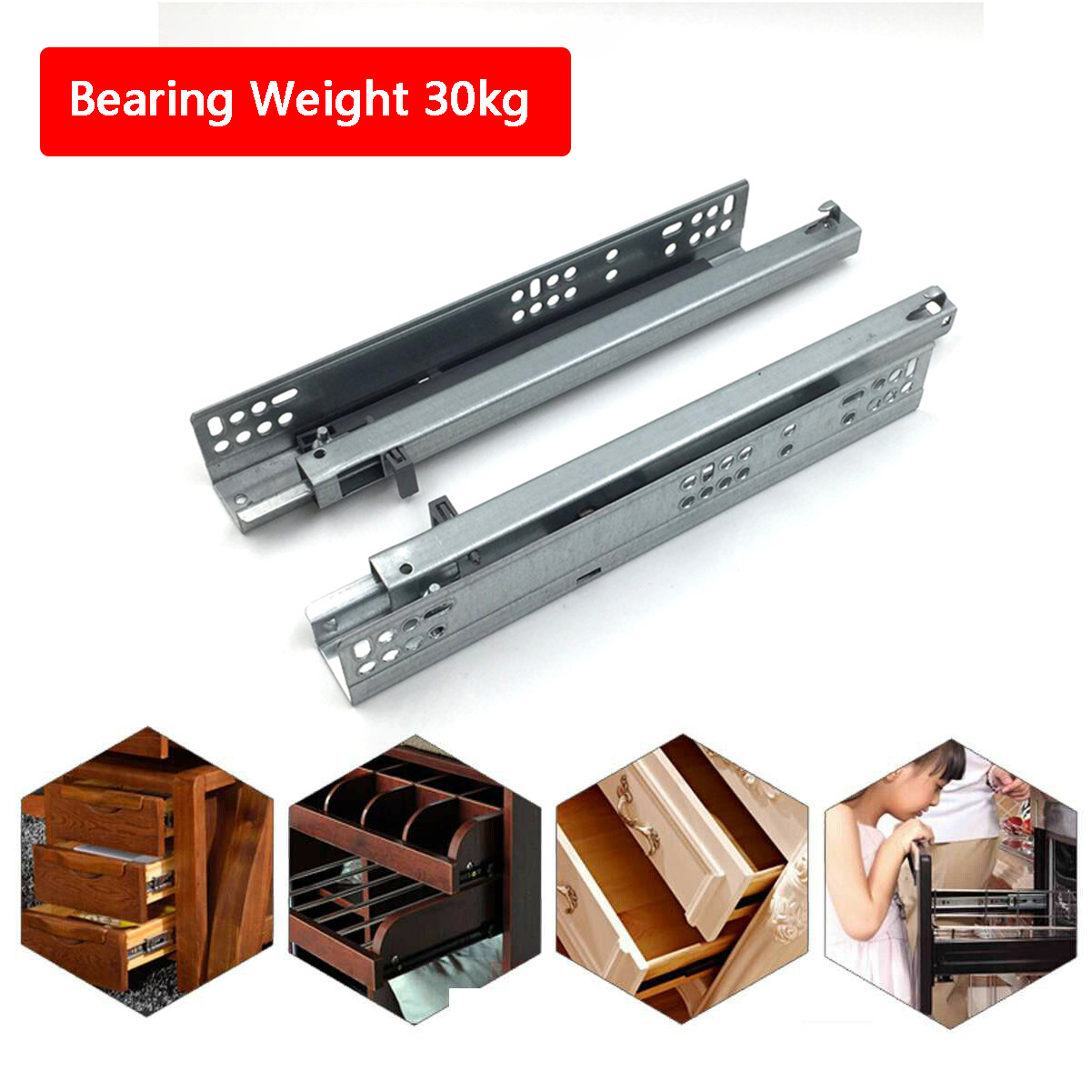 Soft Close Invisible Concealed Undermounting Full Extension Drawer Runners Slide