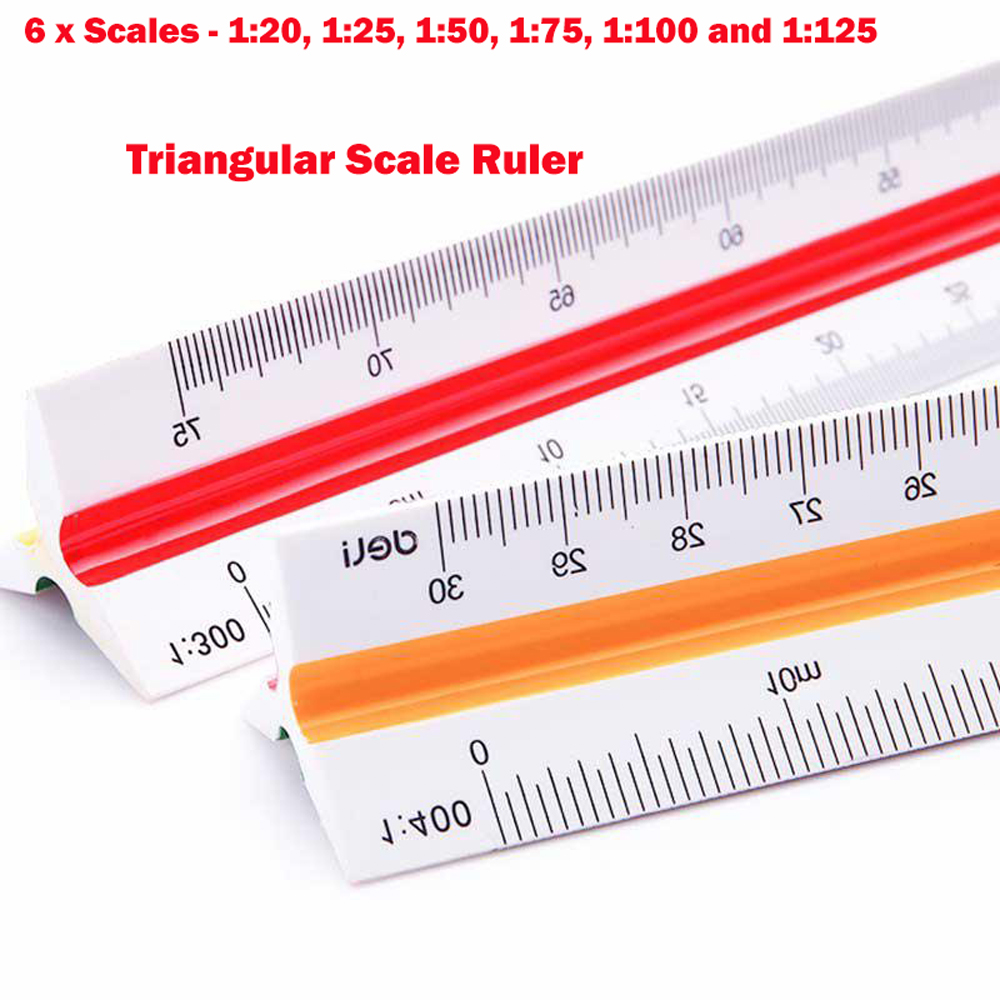 Triangular Scale Ruler 30cm Silver Metric Triangular Engineer Ruler with 15cm Metal Ruler Suitable for Architects Designers Drawing German Craft 1:100 1:200 1:250 1:300 1:400 1:500