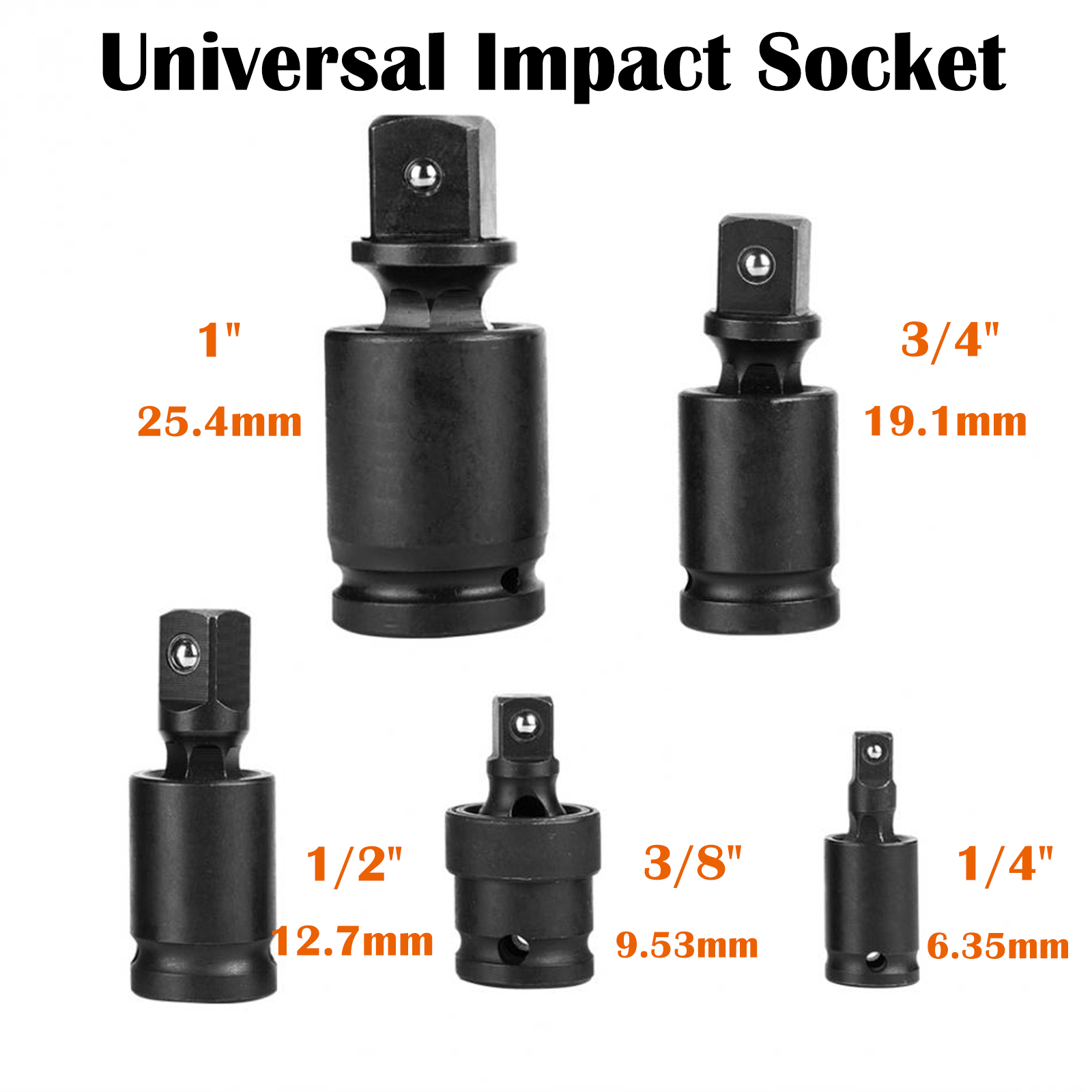 "2pcs Universal Swivel Joint Air Impact Wobble Socket Adapter 3//8/"" 1//4/"" 1//2/"""