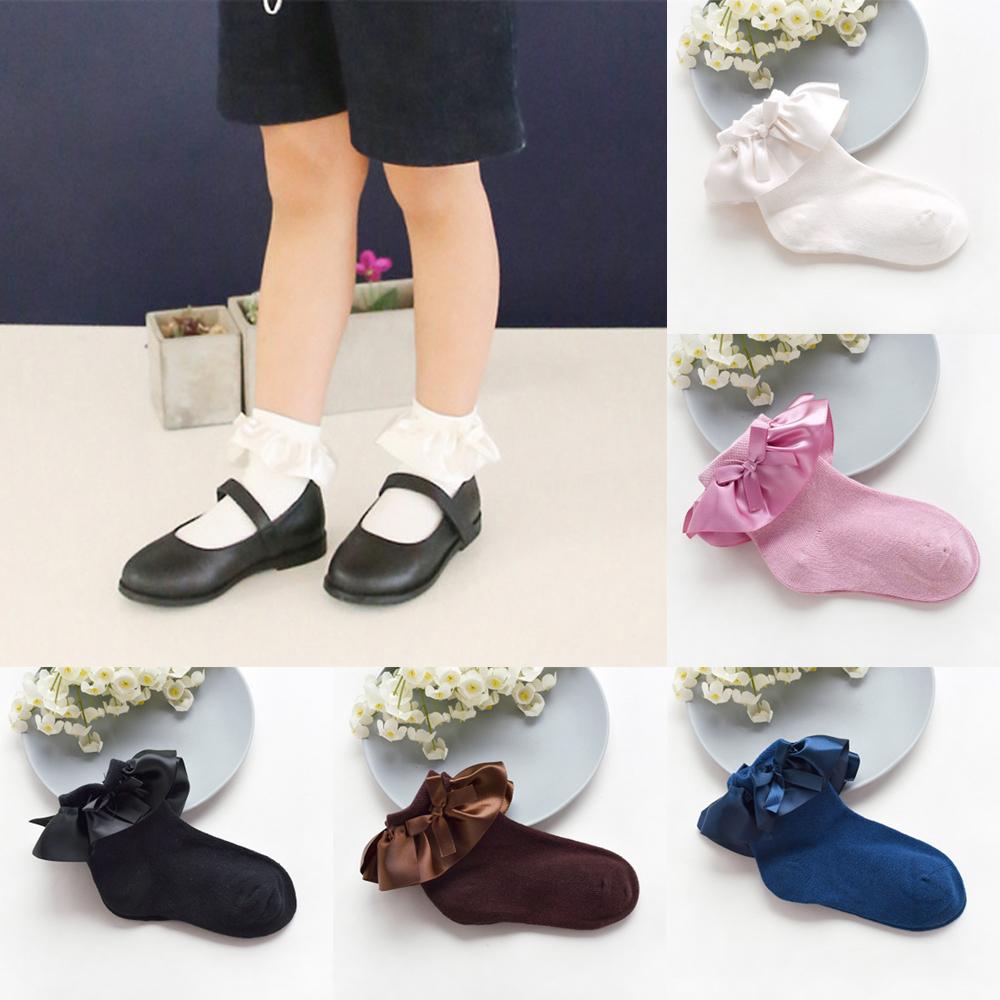 Kids Girls Toddler Children School Party Socks Bow Frilly Ankle Short Socks UK