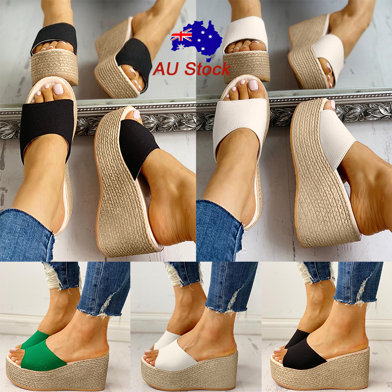 Details about Women Pu Espadrille Platform Wedge Heel Slippers Ladies Casual Slip On Sandals