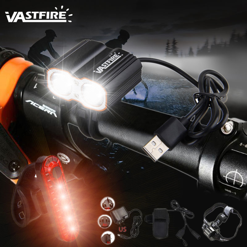 USB Rechargeable Bike Front Light 3x T6 LED Bycicle Headlamp Signal Rear Lamp K