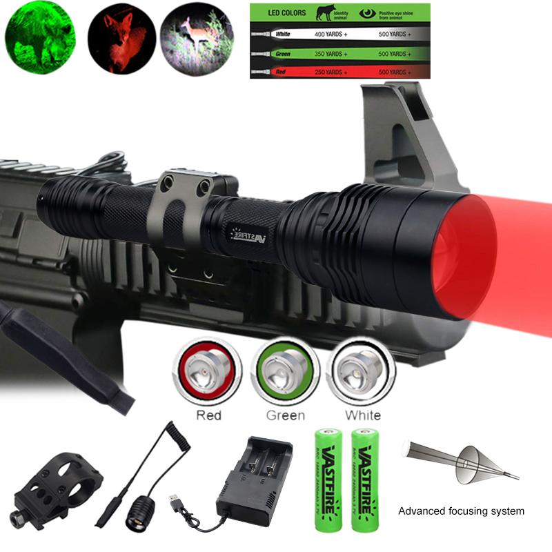 Long Range 500 Yards Zoomabar Predator Jagd Taschenlampe Lampen Rot Grün Hog Fox