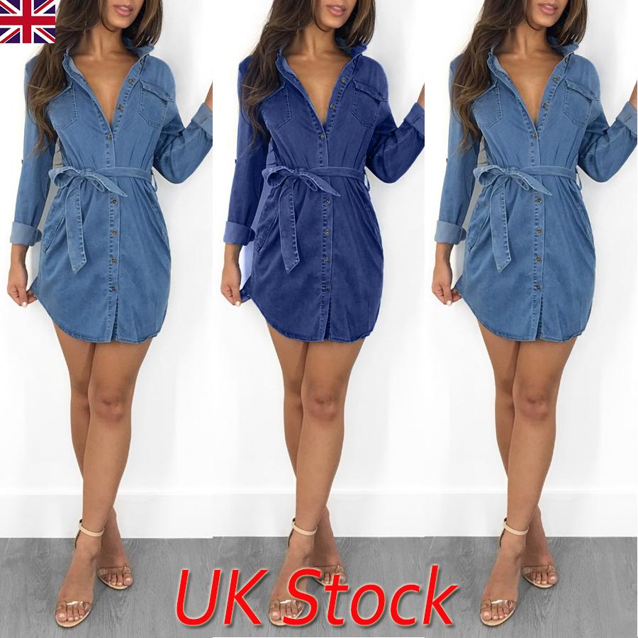 New Women Women Denim Short Dress UK