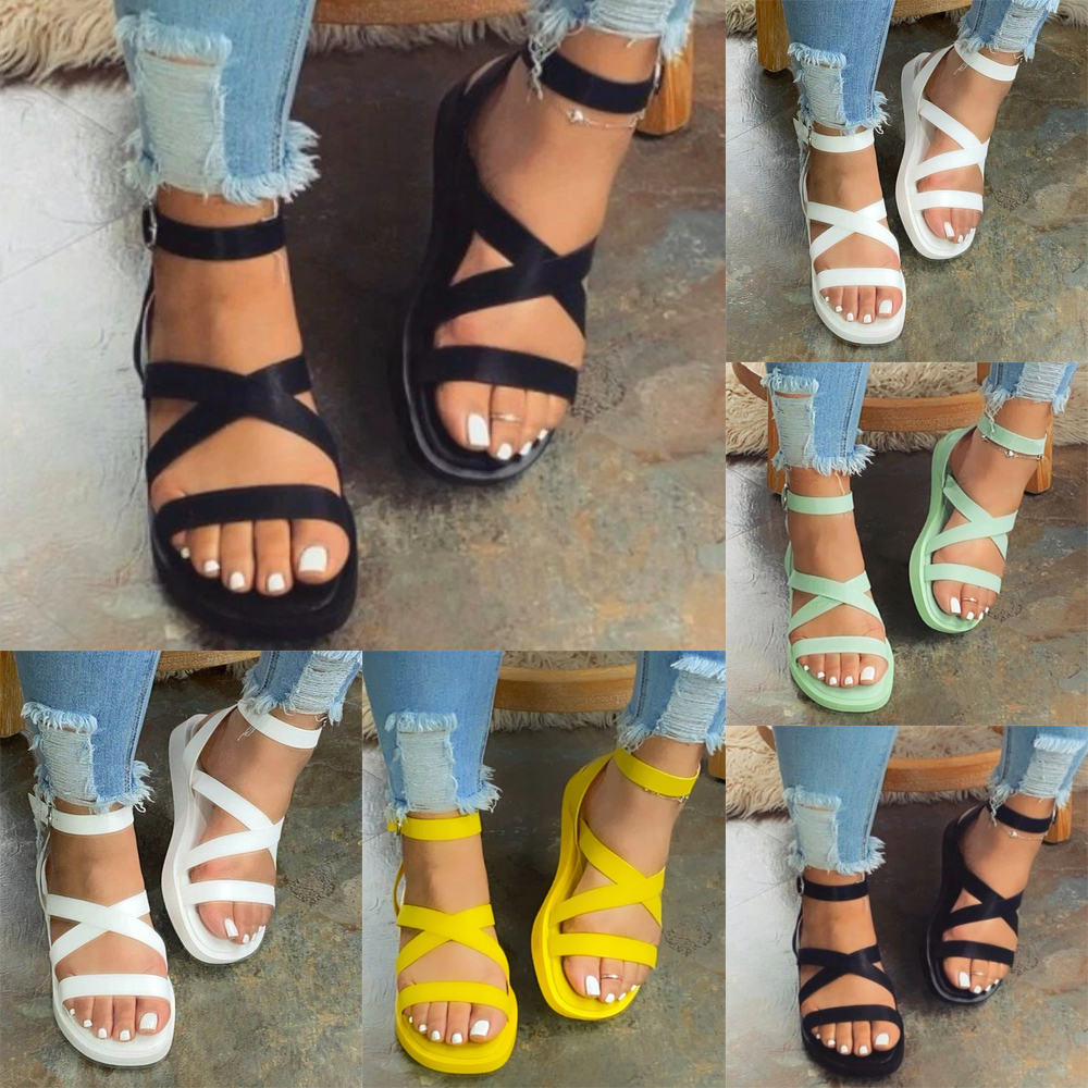 Women Beach Platform Wedge Heel Leather Shoes Ankle Strap Flat Sandals Casual