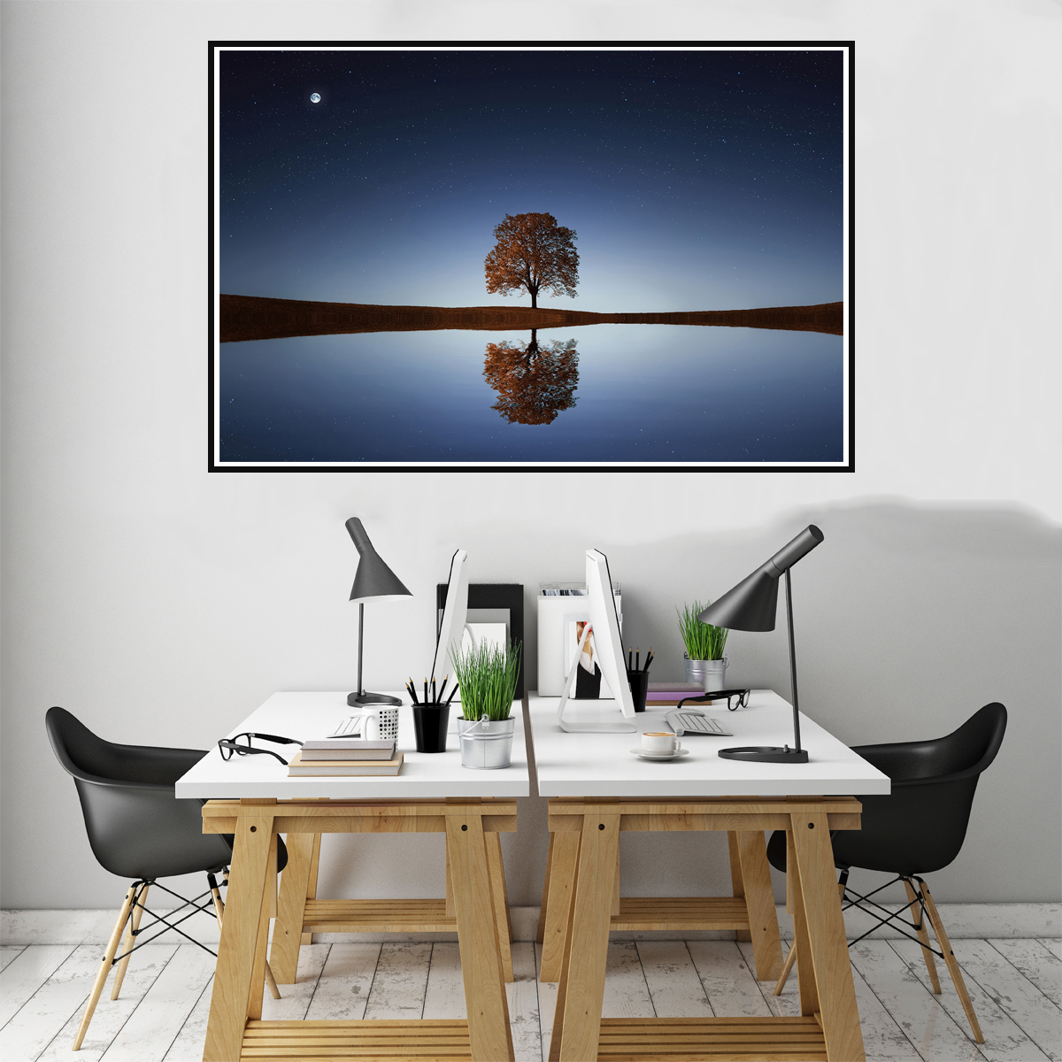 Details About Modern Calm Lake Landscape Canvas Painting Poster Living Room Wall Art Decor