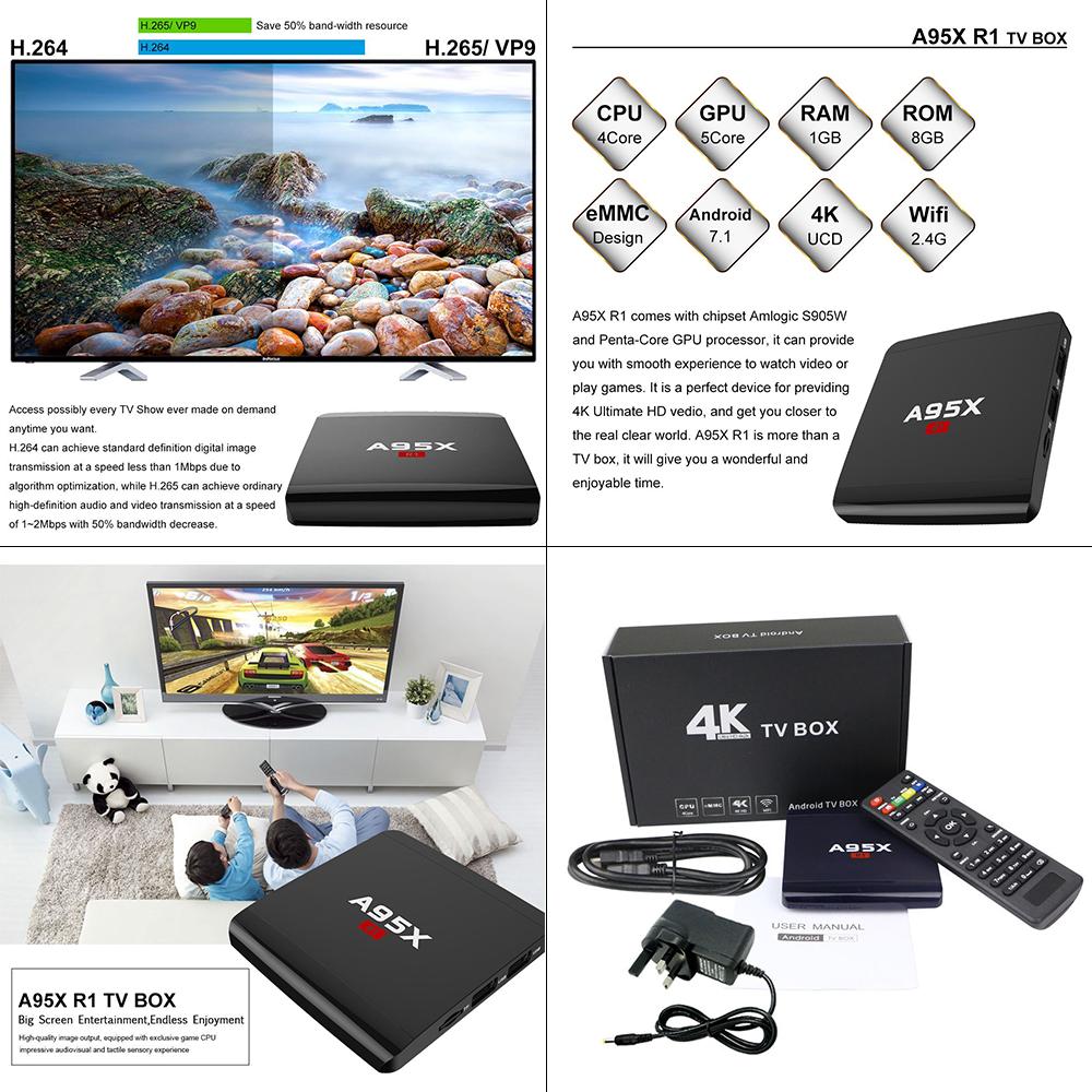 UK Android 7 1 Smart Tv Box 4K Ultra Media Player Wifi Quad
