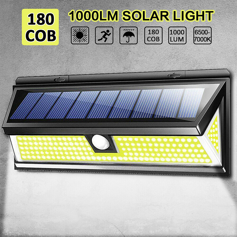 100LED Solar Powered PIR Motion Outdoor Garden Light Security Flood Wall Lamp CY